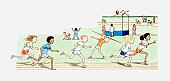 Illustration of children competing in various disciplines at sports event
