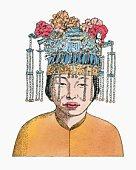 Illustration of Chinese bride wearing traditional headdress