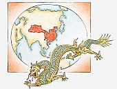 Illustration of Chinese dragon in front of map of China c. AD626 in the era of the T'ang dynasty