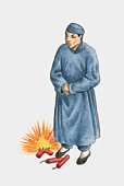 Illustration of Chinese man standing next to exploding stick of gundpowder