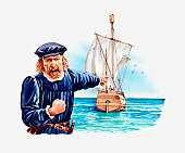 Illustration of Christopher Columbus shouting, shaking his fist and pointing at ship, the Pinta, out at sea