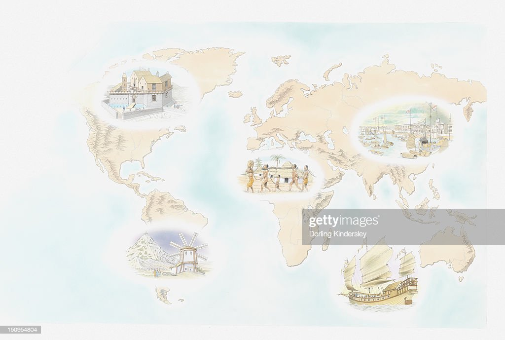 Illustration of colonial settlements at Elmina slave fort, Canton harbour in China, East India Companies, Spanish windmill in Potsoi Bolivia, and French fort along St Lawrence River, Quebec : Stock Illustration