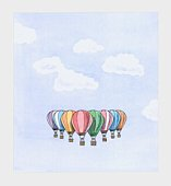 Illustration of colourful hot air balloons in sky