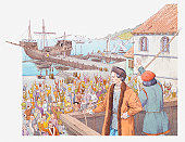 Illustration of Columbus returning to Spain in 1493, greeted by cheering crowds