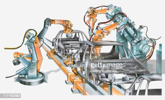 Illustration of conveyor belt and machinery in car factory : Stock Illustration