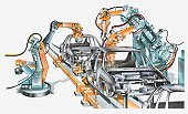 Illustration of conveyor belt and machinery in car factory