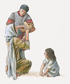 Illustration of Cornelius handing loaf of bread to poor woman sitting on ground with child