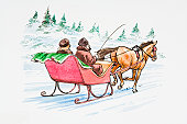 Illustration of couple in horsedrawn sledge in snow