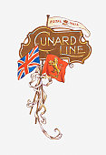 Illustration of Cunard Line shipping company sign
