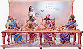 Illustration of Daniel interpreting writing on wall for Babylonian King Belshazzar and nobles sitting at table during banquet