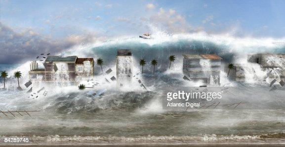 Illustration of devastation caused by Tsunami : Stock Illustration