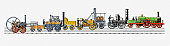 Illustration of development of British and American steam trains of the 19th century from 1803 to 1874