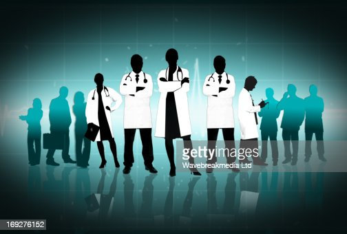 Illustration of doctors standing arms crossed : Stock-Illustration