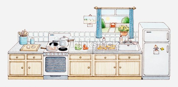 Illustration Of Domestic Kitchen With All Appliances Aligned In A Row 스톡 ...