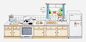 Illustration of domestic kitchen with all appliances aligned in a row