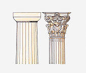 Illustration of Doric and Corinthian style columns