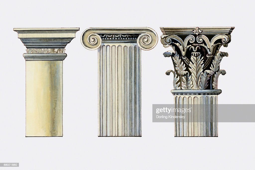 Illustration of doric ionic and corinthian column capitals - Romanian architectural styles ...