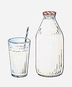 Illustration of drinking straw in glass of milk next to bottle of milk
