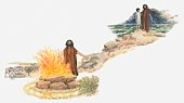 Illustration of Elijah standing next to flaming altar to God, and telling servant to inform the people that the rains have come