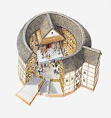 Illustration of Elizabethan theatre