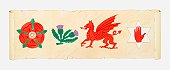 Illustration of English Rose, Scottish Thistle, Welsh Dragon and Irish Red Hand on scroll