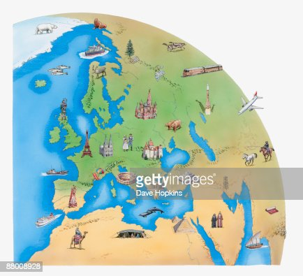 Illustration of Europe, North Africa, the Middle East, parts of Asia, and Antarctica, showing fauna, flora and places of interest : Stock Illustration