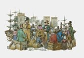 Illustration of European immigrants waiting at docks after arrival in America
