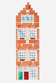 Illustration of facade of typical Amsterdam house with stepped gable