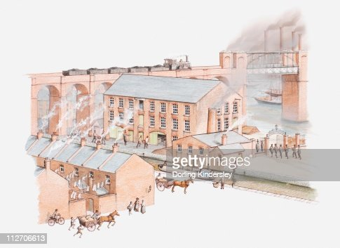 Illustration of factory in city during the Industrial revolution : Illustrazione stock