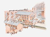 Illustration of factory in city during the Industrial revolution