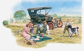 Illustration of family having picnic in countryside near car