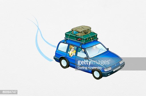 Illustration of family in left hand drive hatchback with luggage tied to roofrack : Stock-Illustration