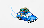 Illustration of family in left hand drive hatchback with luggage tied to roofrack