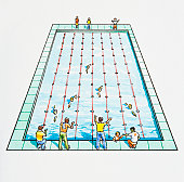 Illustration of fathers standing at edge of swimming pool supporting children in race