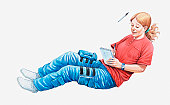 Illustration of female astronaut experiencing zero gravity as she writes in notebook with pen floating by her head