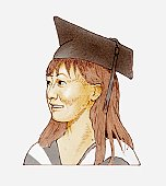Illustration of female student wearing academic cap
