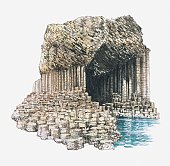Illustration of Fingal's Cave formed from basalt columns on island of Staffa