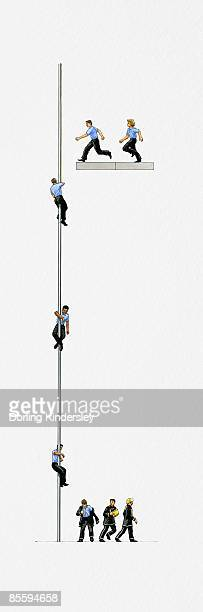 Illustration of firefighters running to, sliding down, and at the bottom of pole