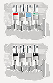 Illustration of firing order sequence of delivering power to car cylinder in multi-cylinder piston engine