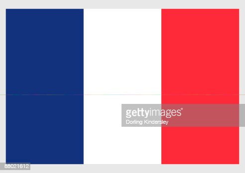 Illustration of flag of France, a vertical tricolor of blue, white, and red : Stock Illustration