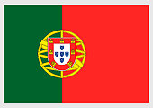 Illustration of flag of Portugal, a vertically striped bicolor with unequally divided green and red field, and national coat of arms at centre