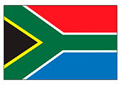 Illustration of flag of South Africa, horizontal bands of red, blue, and green band splitting in to Y shape, and black isosceles triangle