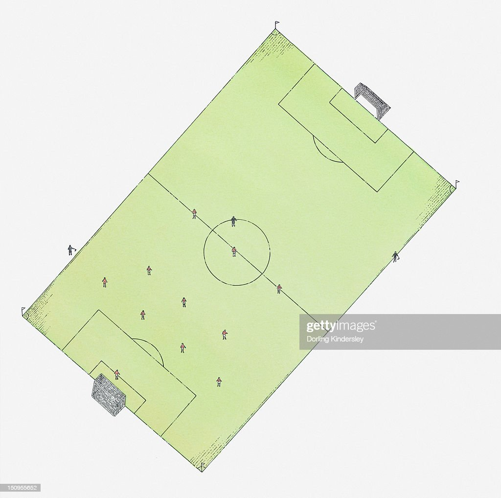 Illustration of football pitch, view from above : Stock Illustration