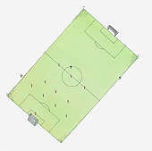 Illustration of football pitch, view from above