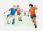 Illustration of footballers playing