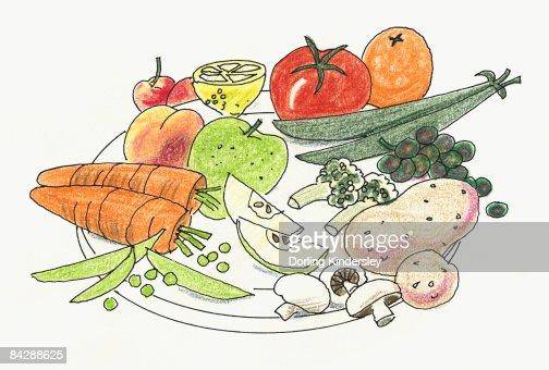 Illustration of fruit and vegetable, including mushrooms, beans, carrots, potatoes, tomato, orange, apple, lemon, cherry, peas, peach, grapes, and cauliflower : Stock Illustration