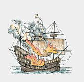 Illustration of galleon in flames on sea