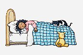 Illustration of girl and a cat sleeping in bed and teddy sitting by side of bed