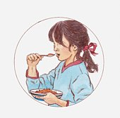 Illustration of girl eating cornflakes from bowl