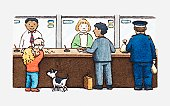 Illustration of girl emptying contents of piggy bank onto counter, other customers and bank staff standing nearby